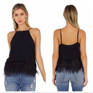 NWT Line & Dot Keira Faux Ostrich Feather Cami